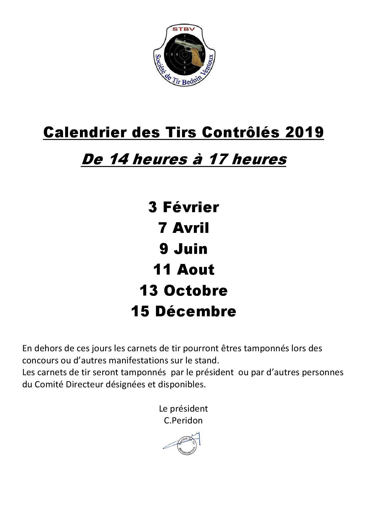 Calendrier Tirs Controlés 2018