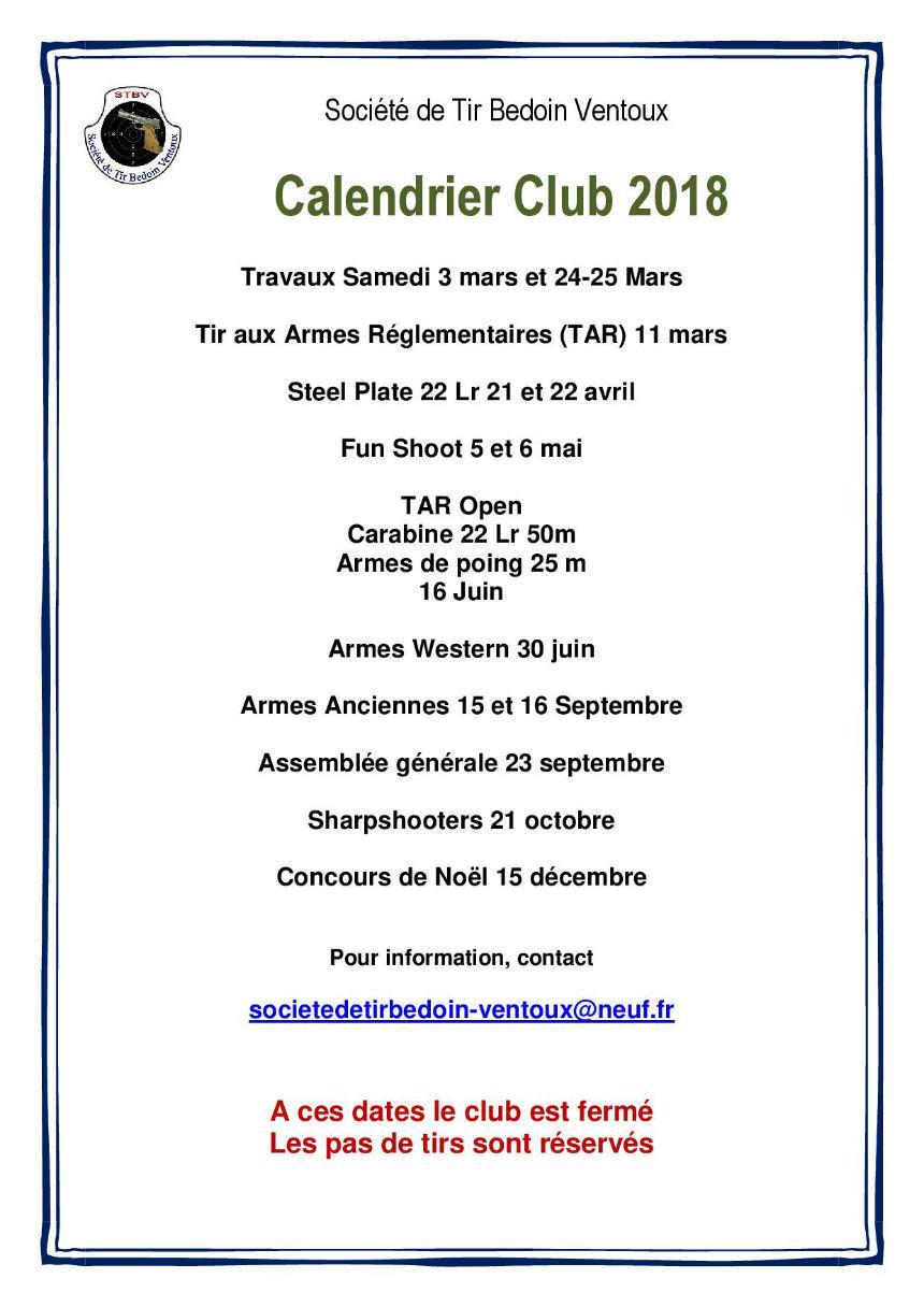 Calendrier club 2018